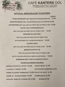 Afhaal menukaart Café Kanters